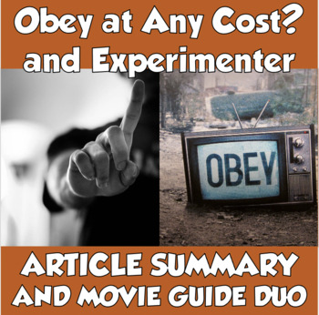 """AP Psychology Milgram Duo- """"Obey at Any Cost?"""" & Experimenter Movie Guide"""