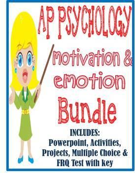 AP Psychology Motivation & Emotion unit BUNDLE Powerpoint activities test