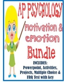 AP Psychology Motivation & Emotion unit BUNDLE Powerpoint activities test