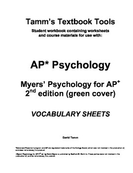 AP Psychology: Myers' Psychology for AP 2nd edition Vocabulary Sheets - Full Set
