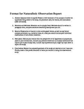 AP Psychology Naturalistic Observation Report