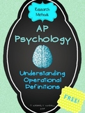 AP Psychology Research Methods - Operational Definitions Assignment