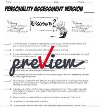 AP Psychology- Personality Definition Homework and Matching Quiz (Unit 10)