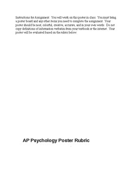 AP Psychology Poster Project w/Rubric