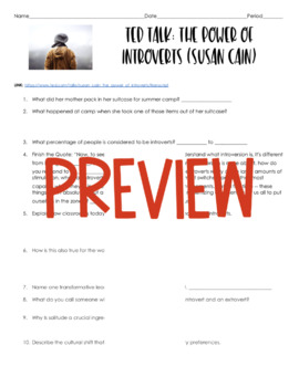 AP Psychology- Power of Introverts TED Talk (Susan Cain/Personality)