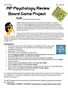 AP Psychology REVIEW BOARD GAME FINAL project with due dat