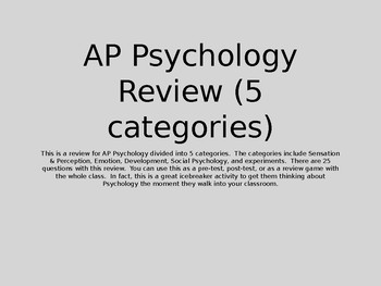 AP Psychology Review (5 Categories)