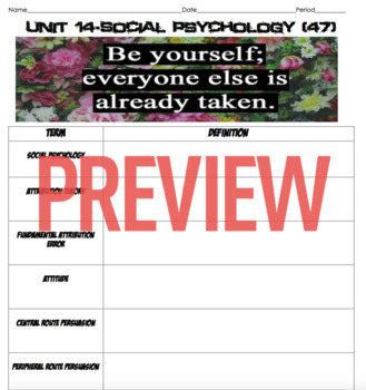 AP Psychology- Social Psychology Definition Homework and Quiz (Unit 14)
