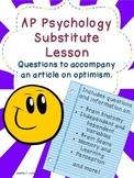AP Psychology Substitute Lesson - Questions for Article on Optimism