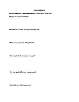 AP Psychology Temperament WS