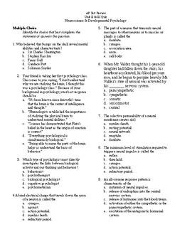 AP Psychology Test Review Neuroscience & Developmental Psychology Quiz w/  key