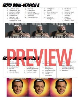 AP Psychology- Testing/Individual Differences Def. Homework & Quiz (Unit 11)
