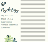 AP Psychology Topic 1.3 Experiments and Ethics FRQ Distance Learning with Video