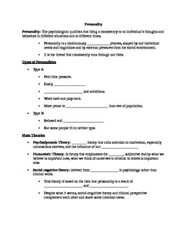 AP Psychology Unit 10: Personality Student Notes Outline