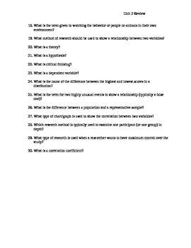AP Psychology Unit 2 Research Methods Review