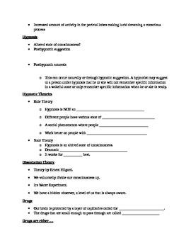 AP Psychology Unit 5: States of Consciousness Skeleton Notes Outline
