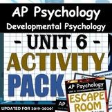 AP Psychology Unit 6: Developmental Psych - Activity Pack: includes ESCAPE ROOM