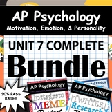AP Psychology - Unit 7 - Motivation, Emotion, & Personalit