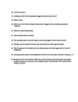 AP Psychology Unit 8 Motivation, Emotion, and Stree Review