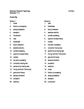 AP Psychology Unit Quiz on Sensation with Answer Keys