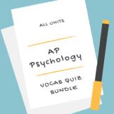 AP Psychology | Vocab Quiz Bundle *Editable