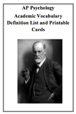 AP Psychology Vocabulary Terms 205 Printable Cards with Definitions and Examples