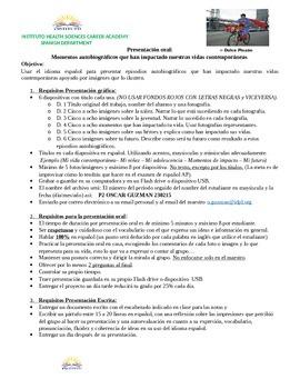 AP SPANISH: Presentación Oral: La vida contemporánea