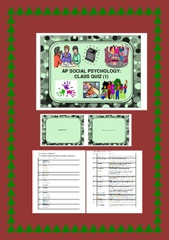 Social Psychology: Student Worksheet, Study Cards & Class Quiz (1)
