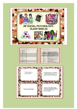 Social Psychology: Student Worksheet, Study Cards & Class Quiz (2)