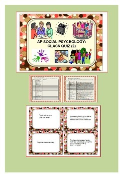 Social Psychology: Student Worksheet, Study Cards & Class