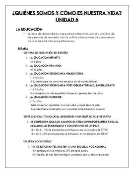 AP Spanish - Education Notes - Contemporary Life - La vida contemporánea