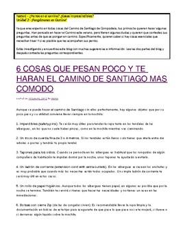 AP Spanish - El Camino de Santiago - Lectura y Preguntas