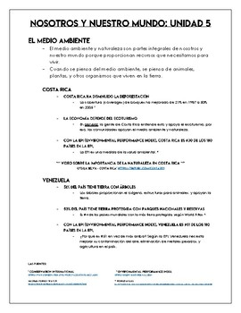 AP Spanish - Environment Notes - Nosotros y Nuestro Mundo - Global Challenges