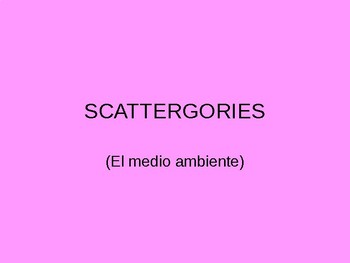 AP Spanish Environment Vocab Scattegories