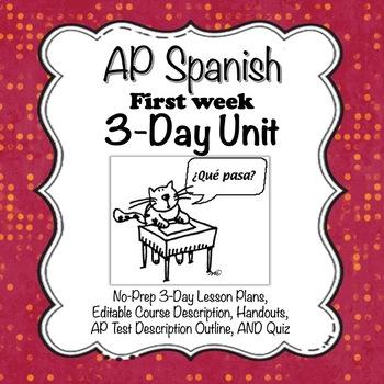 AP Spanish First Week No Prep 3-Day Unit-- Lesson Plans, Handouts, Quiz
