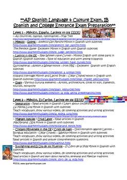 AP Spanish & IB Spanish Culture Curriculum Map for All Levels