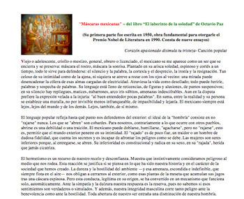AP Spanish: Identitades personales y públicas. Octavio Paz. Máscaras mexicanas