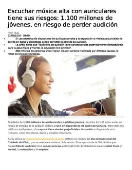 AP Spanish LECTURA: Los peligros de musica alta