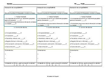 AP Spanish Lang - Interpersonal Speaking Rubric with student Handout