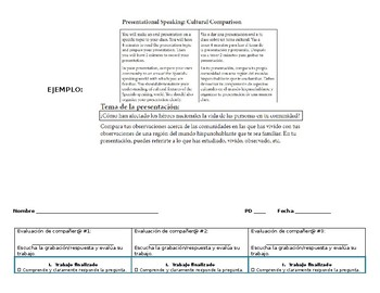 AP Spanish Language and Culture -Cultural Comparison Rubric with student Handout
