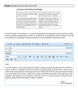 AP Spanish Language and Culture - Practice Email Reply for Science and Tech