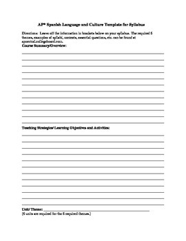 APs Spanish Language and Culture Template for Syllabus