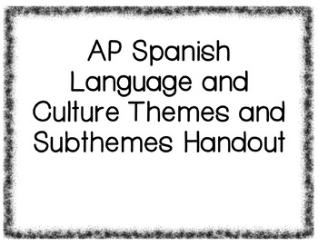 AP Spanish Language and Culture Themes/Subthemes/Essential Questions Handout