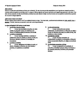 AP Spanish Language and Culture Summer Work / Trabajo de Verano