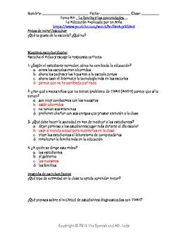 AP Spanish Listening - Family & Community - Education-Child's Opinion -TEST PREP