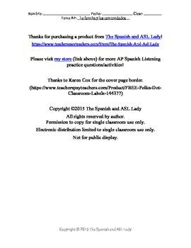 AP Spanish Listening - Family & Community - Medical Hardship -TEST PREP