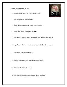 AP Spanish Lit- Preguntas de discusion-Acto # 2-Bernarda Alba