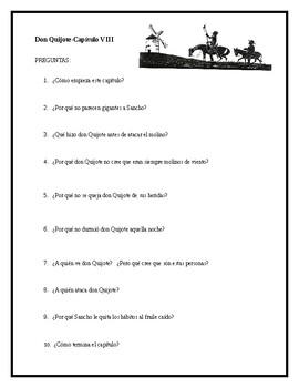 AP Spanish Lit- Preguntas de discusion-Capitulo #8-Don Quijote