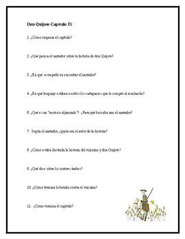 AP Spanish Lit- Preguntas de discusion-Capitulo #9-Don Quijote