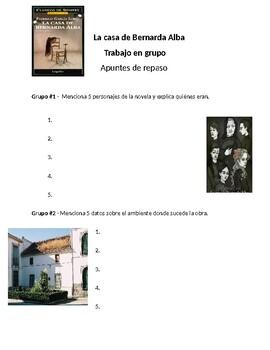 AP Spanish Lit- Trabajo en grupo-Repaso-Bernarda Alba